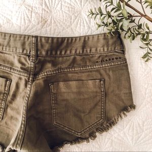 Billabong Distressed Olive Green Shorty Shorts